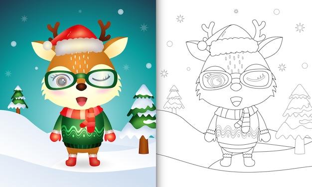 Kolorowanka z uroczą kolekcją świątecznych postaci jelenia z czapką, kurtką i szalikiem mikołaja