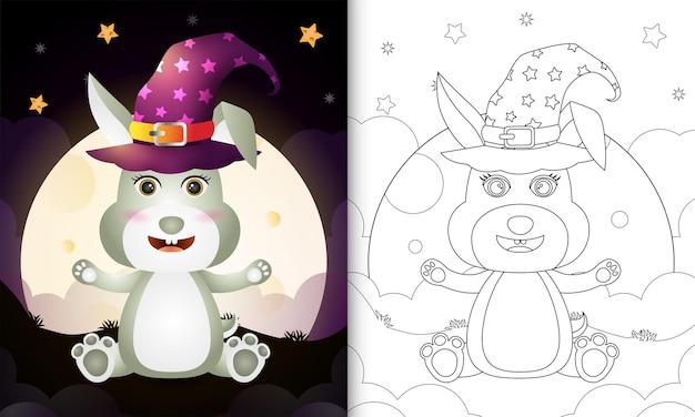 Kolorowanka z uroczą kreskówką halloweenową wiedźmą królikiem z przodu księżyca