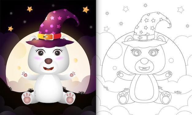 Kolorowanka z uroczą kreskówką halloweenową wiedźmą niedźwiedziem polarnym z przodu księżyca
