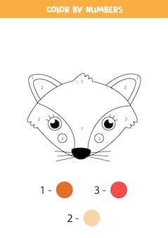 Kolorowanka z uroczą twarzą lisa. koloruj według liczb. gra matematyczna dla dzieci.