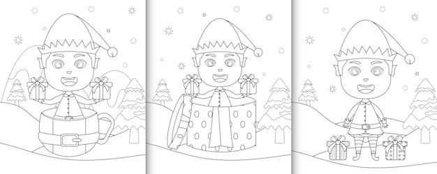 Kolorowanka z uroczym chłopcem elfem