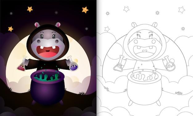 Kolorowanka z uroczym hipopotamem używającym kostiumu wiedźmy na halloween