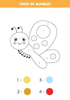 Kolorowanka z uroczym motylem. koloruj według numerów 1-5 dla dzieci.