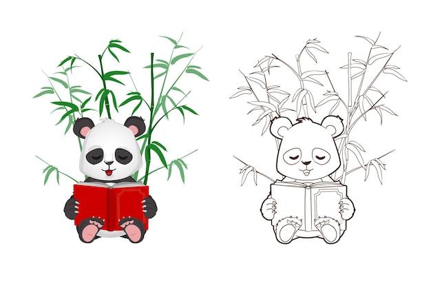 Kolorowanka: zabawna mała panda trzyma książkę w rękach. wektor, ilustracja w stylu kreskówki, czarno-biały lineart