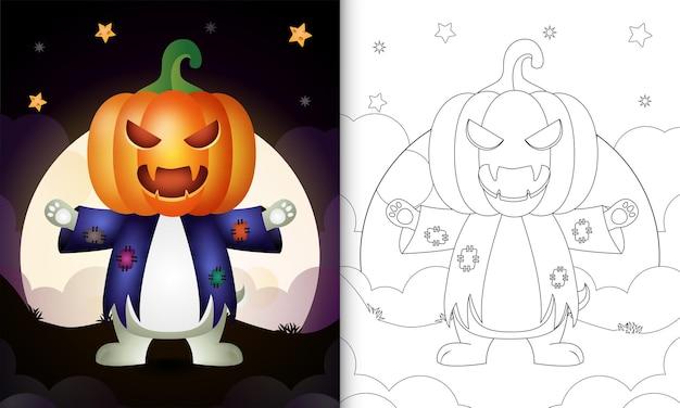 Kolorowanka ze słodkim królikiem używającym kostiumowego stracha na wróble i dyni na halloween