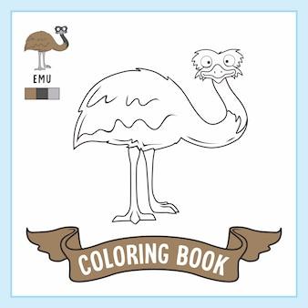 Kolorowanka ze zwierzętami z ptaków emu