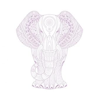 Kolorowanka zen stylizowana na słonia