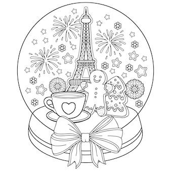 Kolorowanki dla dorosłych, kula śnieżna z wieżą eiffla