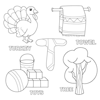 Kolorowanki książki alfabet dla dzieci z przedstawionymi sztukami. litera t - zabawki, drzewo, ręcznik, indyk