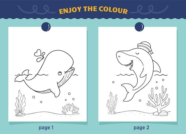 Kolorowanki Rekiny I Wieloryby Dla Dzieci Premium Wektorów