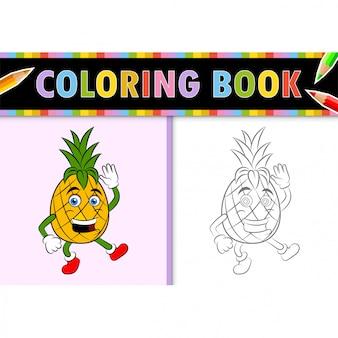 Kolorowanki strona konspektu z kreskówki ananasa. kolorowa ilustracja, kolorowanka dla dzieci.