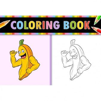 Kolorowanki strona kontur kreskówka banan. kolorowa ilustracja, kolorowanka dla dzieci.