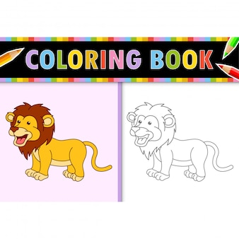 Kolorowanki strona kontur kreskówka lew. kolorowa ilustracja, kolorowanka dla dzieci.