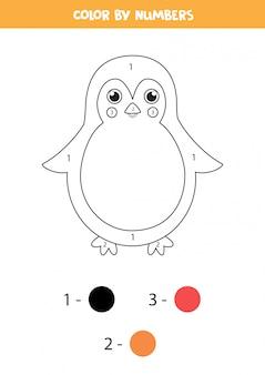 Kolorowanki według liczb z cute pingwina kreskówek.