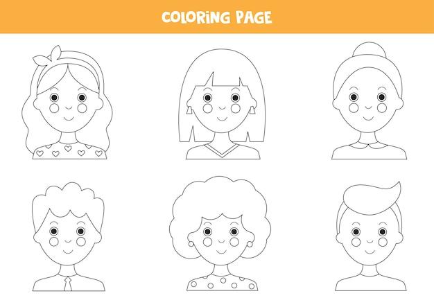 Kolorowanki z awatarami ludzi z kreskówek. kolorowe portrety dziewcząt i chłopców.