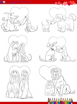 Kolorowanki z książkami przedstawiające zakochane pary psów