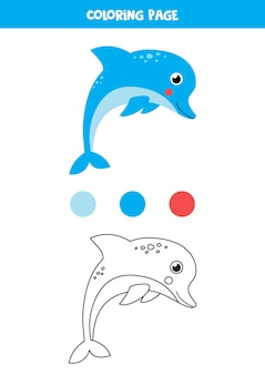 Kolorowanki z uroczym delfinem. arkusz dla dzieci.