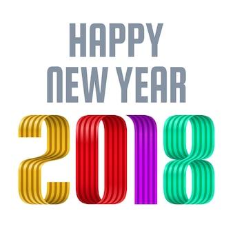 Kolorowe 2018 szczęśliwego nowego roku czerwoną wstążką na białym tle