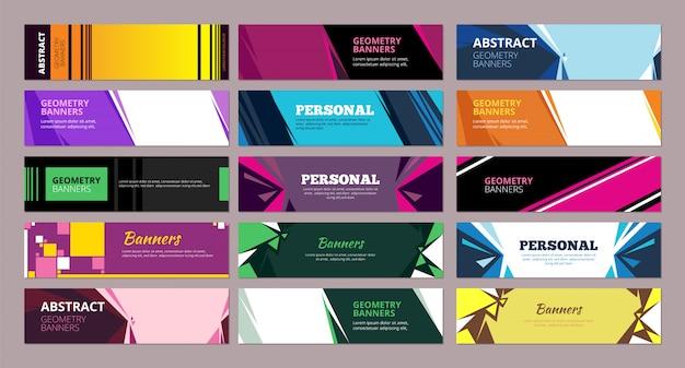 Kolorowe abstrakcyjne banery. geometryczne formy abstrakcyjne z miejscem na tekst banery o prostokątnych i trójkątnych kształtach
