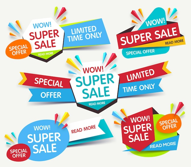 Kolorowe abstrakcyjne banery ustawione na sprzedaż i rabaty
