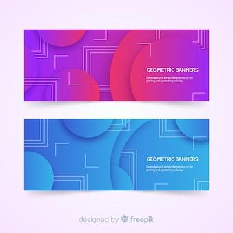Kolorowe abstrakcyjne banery z geometrycznym wzorem