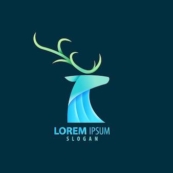 Kolorowe abstrakcyjne geometryczne logo jelenia w kolorze niebieskim. premia