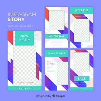 Kolorowe abstrakcyjne historie sprzedaży na instagramie