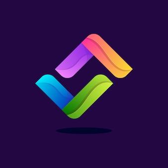 Kolorowe abstrakcyjne litery s logo premium