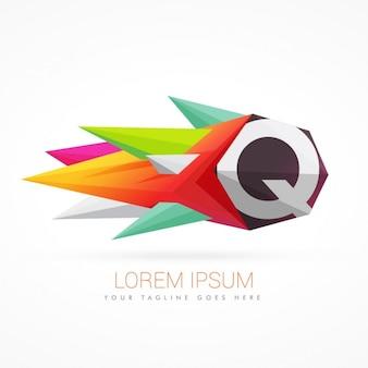Kolorowe abstrakcyjne logo na literę q