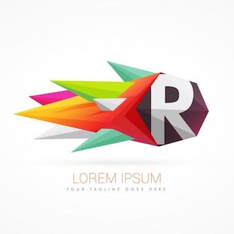 Kolorowe abstrakcyjne logo na literę r