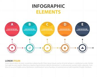 Kolorowe abstrakcyjne okręgu biznesowych Infographic szablonu
