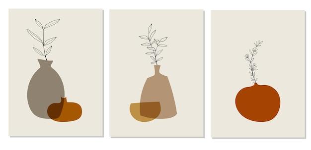 Kolorowe abstrakcyjne plakaty z doniczkami w nowoczesnym stylu na białym tle