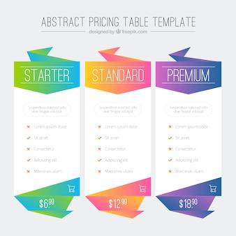 Kolorowe abstrakcyjne tabele cenowa szablonu