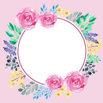 Kolorowe akwarele okrągłe vintage classic kwiatowy rama szablon