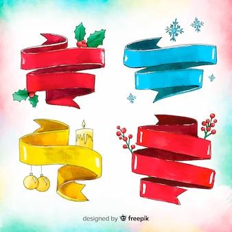 Kolorowe akwarele świąteczne wstążki kolekcji