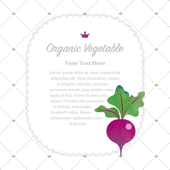 Kolorowe akwarele tekstury natura organiczne warzywo memo rama buraków