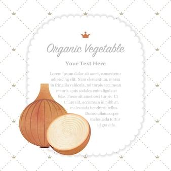 Kolorowe akwarele tekstury natura organiczne warzywo notatka ramka cebula