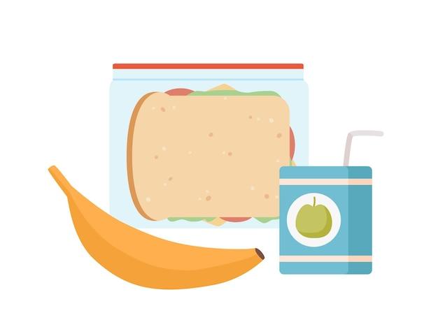 Kolorowe apetyczne przekąski w pudełku na lunch na białym tle. kreskówka banan, sok ze słomy i smaczne kanapki płaskie ilustracja wektorowa. przechowywanie kolorowych zdrowych posiłków.