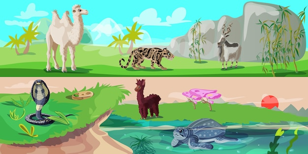 Kolorowe azjatyckie zwierzęta poziome banery