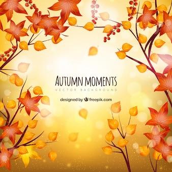 Kolorowe bakground jesienią z płaskimi liśćmi