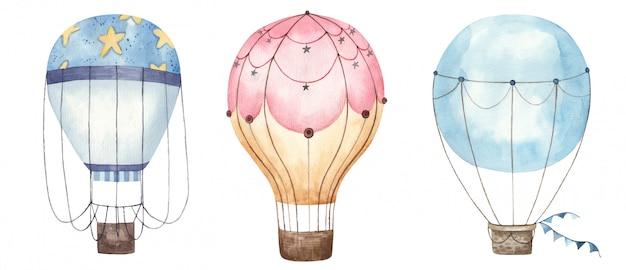 Kolorowe balony na białym tle akwarela ilustracja na białym tle