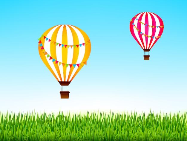 Kolorowe balony na gorące powietrze nad zielonym krajobrazem. ilustracja