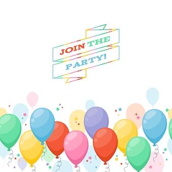 Kolorowe balony party zaproszenie tło. prosty styl kreskówki.