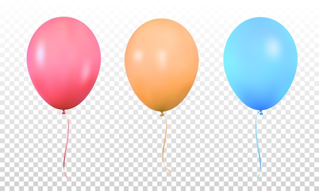 Kolorowe balony, realistyczne żywe kolorowe balony helowe z wstążkami, na białym tle balon