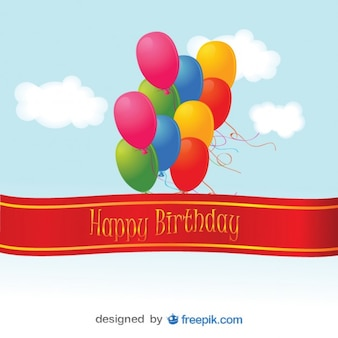 Kolorowe balony z okazji urodzin karty