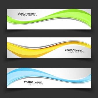 Kolorowe banery faliste