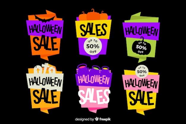 Kolorowe banery halloween z płaska konstrukcja
