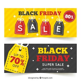 Kolorowe banery na czarno piątek sprzedaży