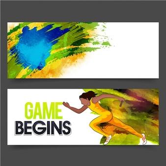 Kolorowe banery sportowych