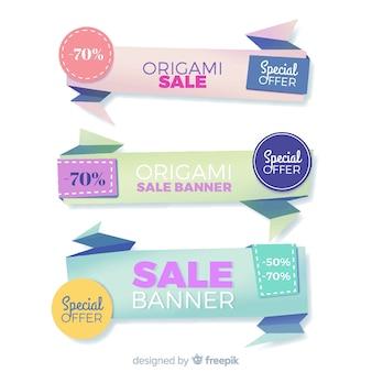 Kolorowe banery sprzedaży origami